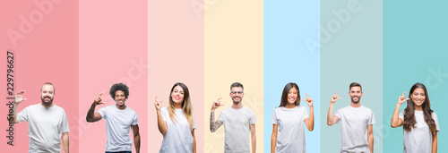 Fotografie, Tablou  Collage of different ethnics young people wearing white t-shirt over colorful is