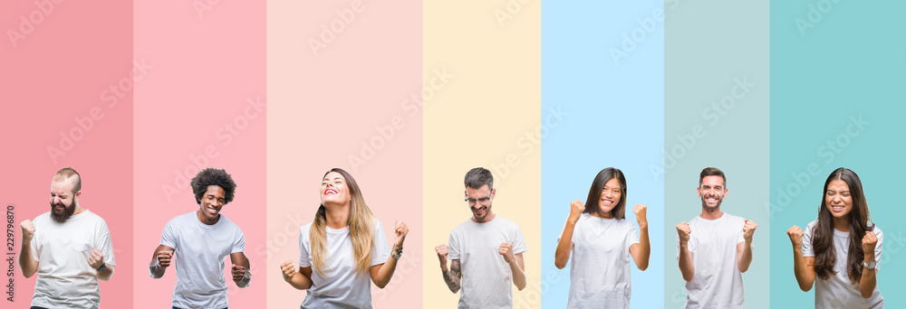 Fototapeta Collage of different ethnics young people wearing white t-shirt over colorful isolated background very happy and excited doing winner gesture with arms raised, smiling and screaming for success