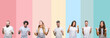 canvas print picture - Collage of different ethnics young people wearing white t-shirt over colorful isolated background very happy and excited doing winner gesture with arms raised, smiling and screaming for success