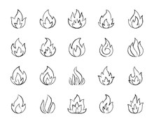 Fire Charcoal Draw Line Icons Vector Set