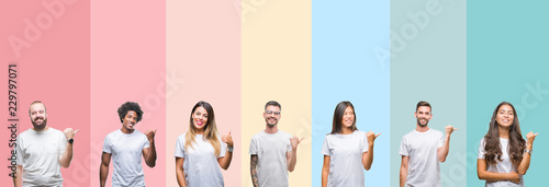 Fotomural Collage of different ethnics young people wearing white t-shirt over colorful isolated background smiling with happy face looking and pointing to the side with thumb up