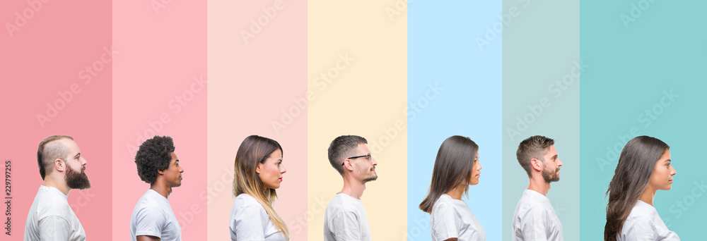 Fototapeta Collage of different ethnics young people wearing white t-shirt over colorful isolated background looking to side, relax profile pose with natural face with confident smile.