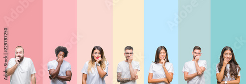 Collage of different ethnics young people wearing white t-shirt over colorful isolated background looking stressed and nervous with hands on mouth biting nails Fototapet