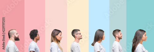 Fototapeta Collage of different ethnics young people wearing white t-shirt over colorful isolated background looking to side, relax profile pose with natural face with confident smile. obraz