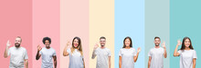 Collage Of Different Ethnics Young People Wearing White T-shirt Over Colorful Isolated Background Smiling Positive Doing Ok Sign With Hand And Fingers. Successful Expression.