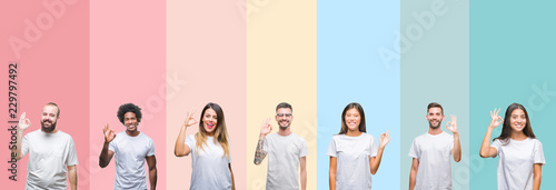 Photo Collage of different ethnics young people wearing white t-shirt over colorful isolated background smiling positive doing ok sign with hand and fingers
