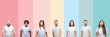 Collage Of Different Ethnics Young People Wearing White T-shirt Over Colorful Isolated Background Making Fish Face With Lips, Crazy And Comical Gesture. Funny Expression.