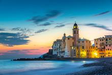 Sunset On The Sea, Camogli, Liguria, Italy