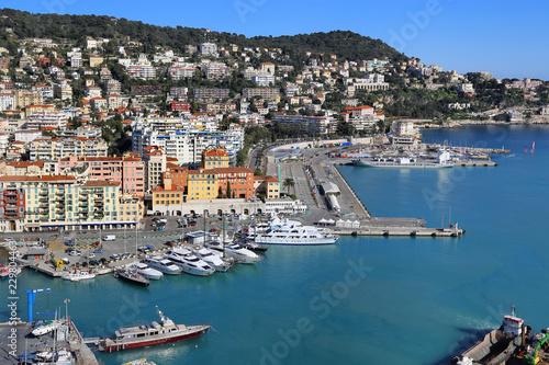 Spoed Foto op Canvas Nice City of Nice in France, view above Port of Nice on French Riviera