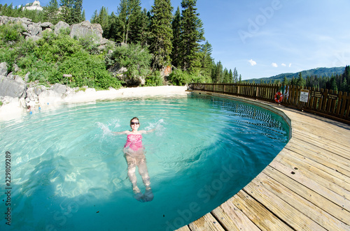 An adult female goes for a swim at Granite Creek Hot Springs, a natural hot spring in Jackson Hole, Wyoming Canvas Print