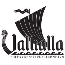 An Ancient Scandinavian Image Of A Viking Ship Decorated With A Dragon Head And The Inscription Valhalla