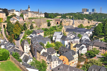 View from the city ramparts down to the Plateau du Rham & Grund areas of Luxembourg city, the Grand Duchy Luxembourg.