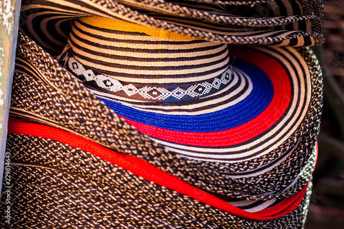 Fotobehang Zuid-Amerika land Street sell of traditional hats from Colombia: