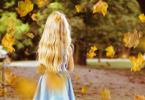 Acrylic Prints Artist KB Little blond girl posing in an autumn park scenery