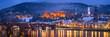 Leinwanddruck Bild Heidelberg Winter Panorama mit Schloss und Alte Brücke