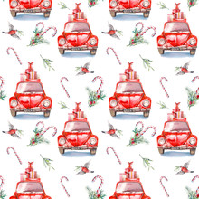 Christmas Vintage Seamless Pattern. Hand Painted Repeating Design With Vintage Cars, Candy, Mistletoe And Bullfinch. Watercolor Holiday Wallpaper