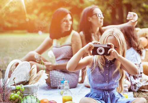 Acrylic Prints Artist KB Cheerful mothers and their daughters on a picnic