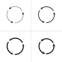 Three Circle Counter Clockwise Arrows Black Icon Set . Vector Illustration Isolated On White Background.