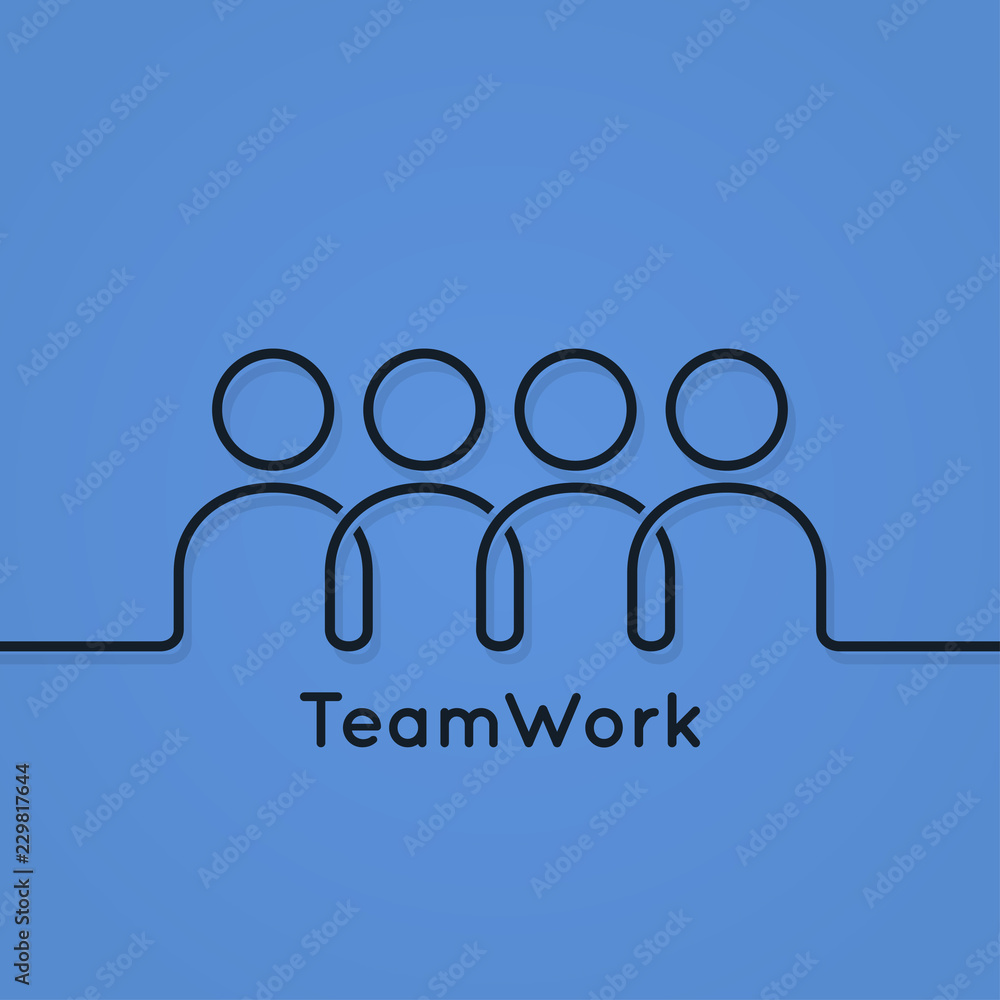 Fototapeta teamwork icon line business concept on blue background