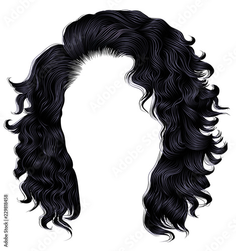Foto long curly hairs  brunette black  dark colors