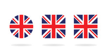 Set Of Three Form The Union Jack. Vector Icons. National Flag Of The United Kingdom