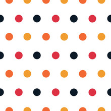 Polka Dot Seamless Vector Pattern In 1970's Colors, Black, Orange And Gold On A White Background, Trendy And Fun, Good For Textiles, Home Decor, Stationery Wallpaper And Graphic Design Uses.