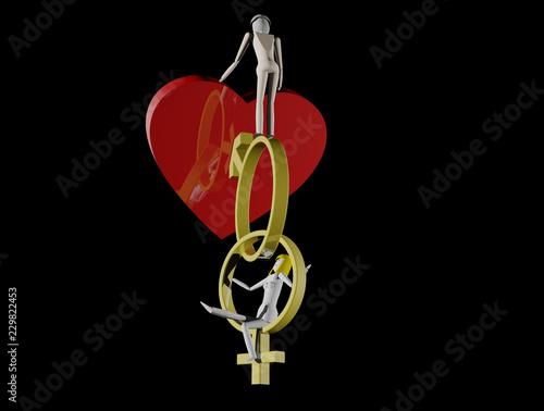 Fotografie, Obraz  Holzfiguren auf Hochzeitsringen als Symbole für männlich und weiblich (3D Render