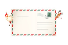 Letter For Santa Claus With Santa And Reindeer On Both Side Of Postcard