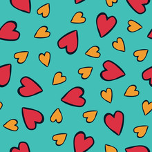 Fun Comic Style Hearts In Red, Turquoise Black In Seamless Vector Pattern. All Over Print Multi Directional Print For Textiles, Fashion, Cards, Gift Wrapping Paper, Invitations And Stationery Items.