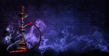 Hookah On The Background Of A Brick Wall, Neon Light, Smoke, Smog,