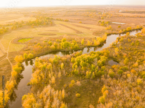Spoed Foto op Canvas Honing aerial summer landscape field with trees and grass, lakes and rivers panorama f