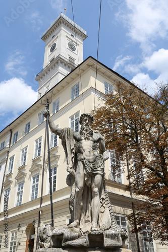 Foto op Plexiglas Historisch mon. Statue of Neptune in Market Square, Lviv, Ukraine
