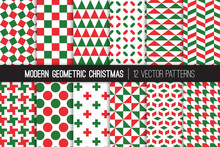 Christmas Red Green White Modern Geometric Vector Patterns. Bold Prints For Xmas Wrapping Paper Or Card-making. Holiday Backgrounds. Repeating Pattern Tile Swatches Included.