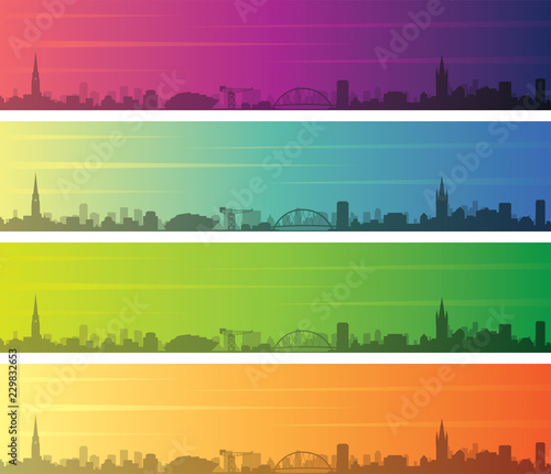 Glasgow Multiple Color Gradient Skyline Banner