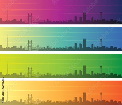 Johannesburg Multiple Color Gradient Skyline Banner