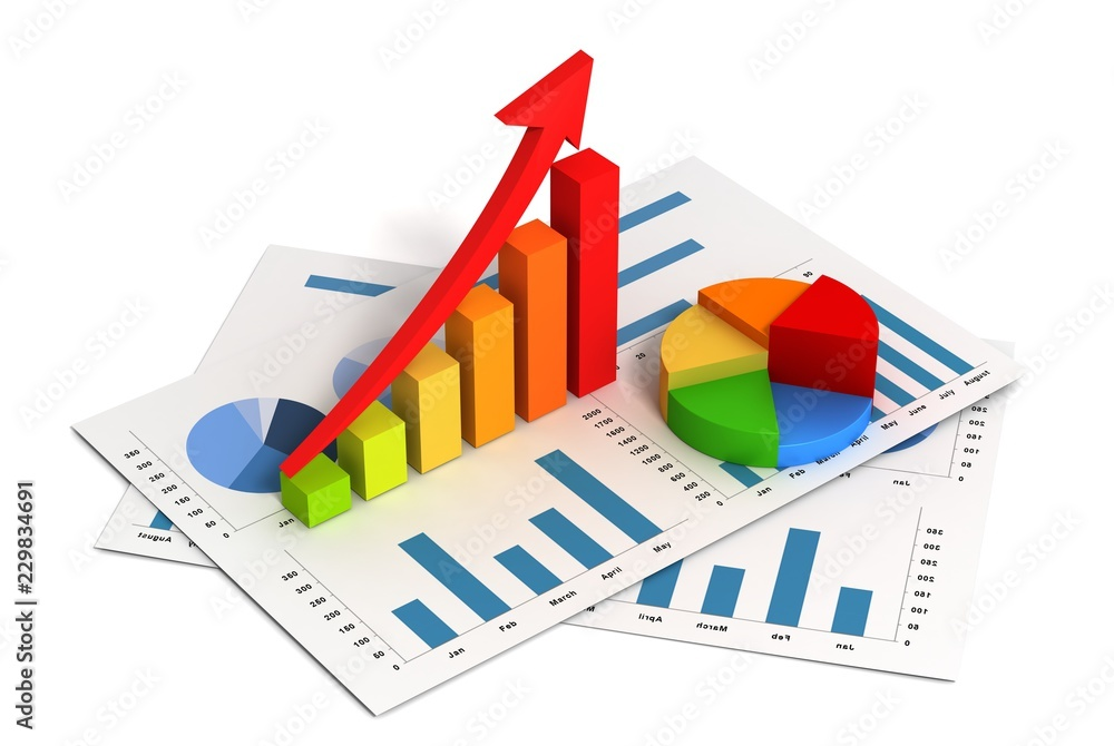 Fototapeta business finance graph 3d illustration