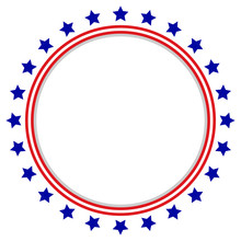 Round Frame American Flag - St...