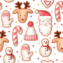 Christmas Seamless Pattern. Hand Painted Watercolor Gingerbread With Confetti. White Backdrop.