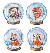 Hand Drawn Watercolor Set Of Illustrations Of Snow Globes Witn Coffee Mug, Fish And Corgi Dogs