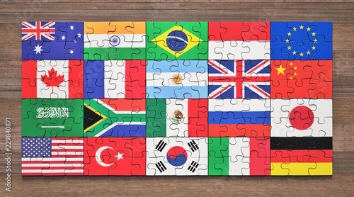 Fotografie, Obraz Flags of the G20 member countries in the form of puzzle pieces.
