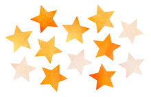 Decorative Collection Of Watercolor Star Shapes. Hand Painted Water Color Graphic Illustration On White, Cut Out Clip Art Elements To Decorate Creative Projects, Cards, Invitations, Prints, Scrapbook.