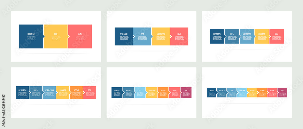 Fototapeta Business infographics. Timeline with 3, 4, 5, 6, 7, 8 steps, options, squares. Vector template.