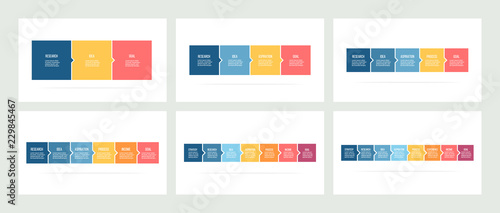Business infographics. Timeline with 3, 4, 5, 6, 7, 8 steps, options, squares. Vector template. - fototapety na wymiar
