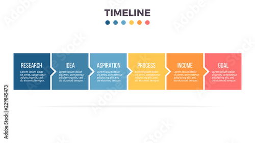 Obraz Business infographics. Timeline with 6 steps, options, squares. Vector template. - fototapety do salonu