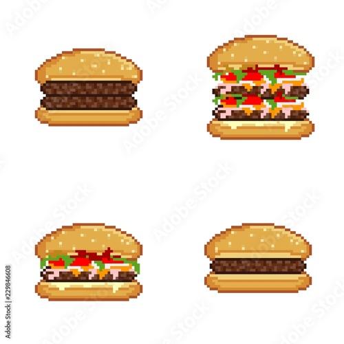 Burgers Icons Pixel Art Acheter Cette Illustration Libre