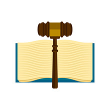 Wooden Gavel With A Book Icon....