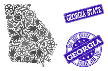 Best Service Combination Of Mosaic Map Of Georgia State And Blue Grunge Seals. Mosaic Map Of Georgia State Designed With Gray Gears And Wrenches. Vector Blue Seals With Grunge Rubber Texture.