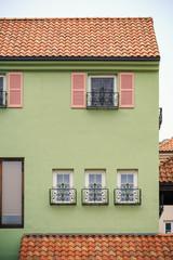 sweet house with beautiful window decoration