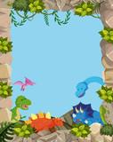 Fototapeta Dinusie - Nature cute dinosaur frame
