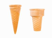 Empty Ice Cream Cone Isolated On White Background.